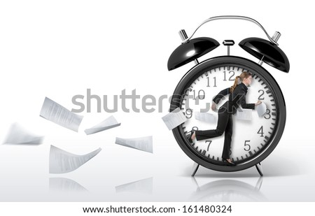 Woman running in a giant clock, concept - stock photo