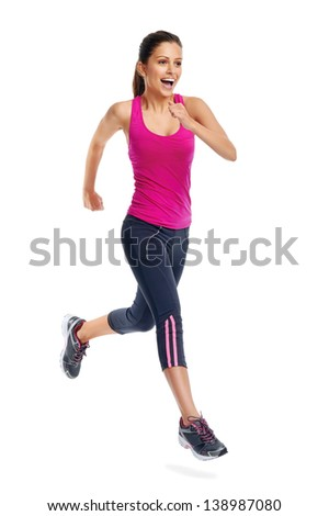 woman running isolated on white background, fitness healthy lifestyle concept - stock photo