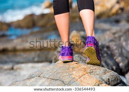 woman running sport feet on trail healthy lifestyle fitness