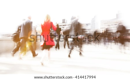 Woman rushing in a city. - stock photo