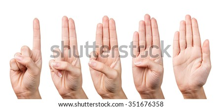 Woman's beautiful hand shows with fingers from one to five on a white background. - stock photo