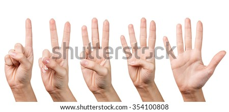 Woman's beautiful hand shows with fingers from one to five on a white background.