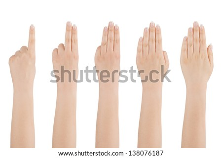 Woman's beautiful naked hand shows with fingers from one to five on a white background.