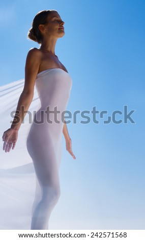 woman's body in white  - stock photo