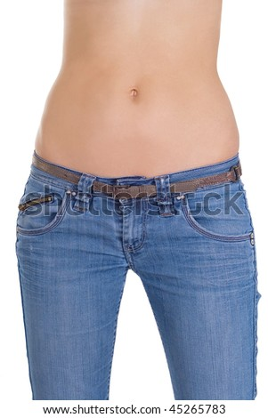 Woman?s body wearing jeans over white
