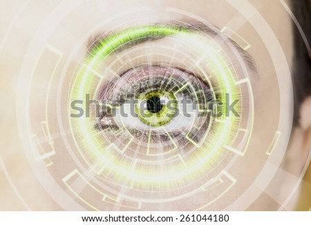 Woman's eye, Digital Surveillance - stock photo