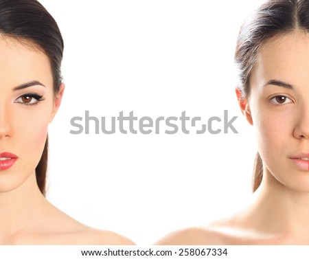 woman's face before and after makeup - stock photo