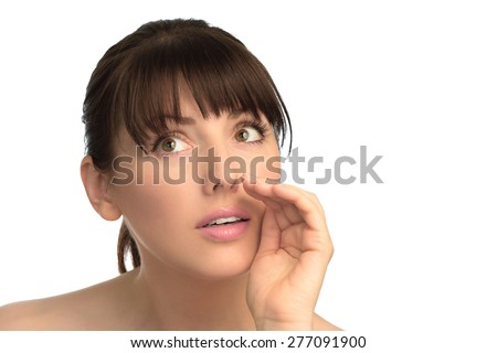 Woman's face hold hands as loud-hailer - stock photo