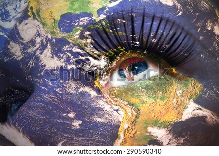 woman's face with planet Earth texture and serbian flag inside the eye. Elements of this image furnished by NASA. - stock photo