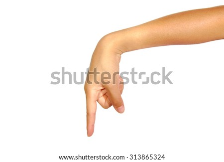 Woman's finger pointing or touching isolated on white background - stock photo