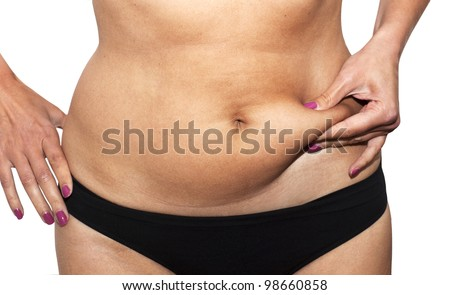 Woman's fingers  measuring  her belly fat - stock photo