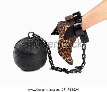 woman's foot with prison ball - stock photo