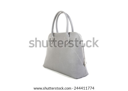 Woman's Gray Leather Bag isolated on white background