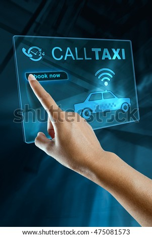 Woman's Hand Booking Taxi on a digital screen