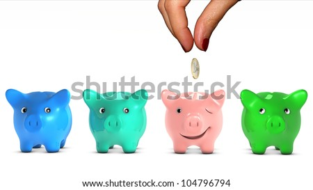 Woman's hand choosing a piggy bank and giving it a piece of money. The selected piggy bank is happy. Concept of doing a good placement choice. Ant fable. - stock photo