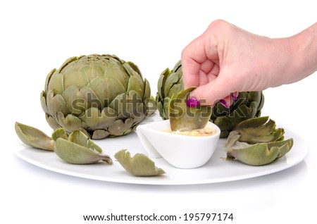 Woman's hand dipping an artichoke leaf into a vinaigrette, isolated on white - stock photo