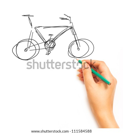 Woman's Hand draws a bicycle isolated on white background - stock photo