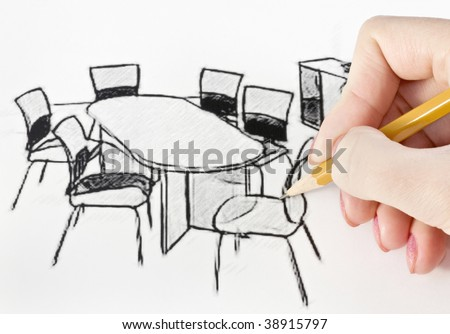 woman's hand draws a pencil office furniture - stock photo