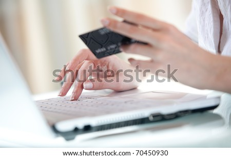 Woman's hand entering data using laptop while holding a credit card in the other hand - stock photo