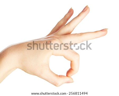 Woman's hand gesture isolated on white background - stock photo