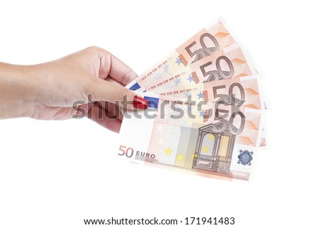 Woman's hand hold banknotes of euro.  Isolated on a white background.