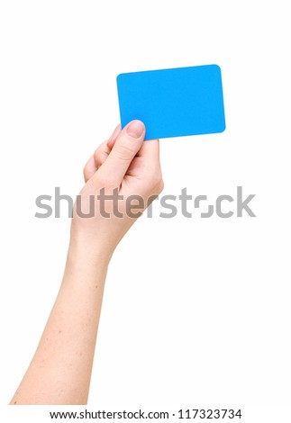 Woman's hand hold blank card isolated over white - stock photo