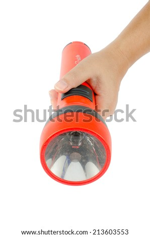 Woman's hand hold flashlight on white background