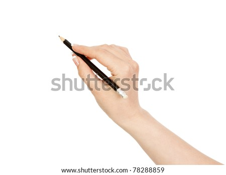 woman's hand holding a black pencil - stock photo