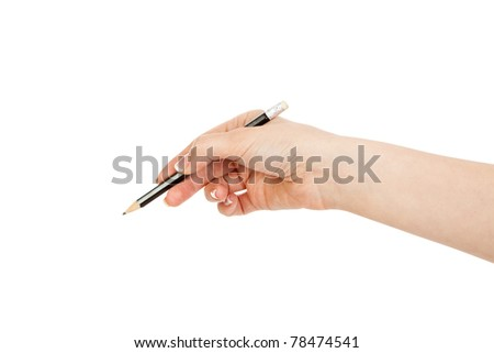 woman's hand holding a black pencil