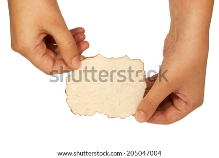 woman's hand holding a card - stock photo