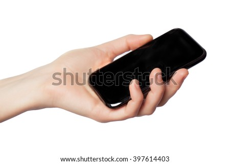 woman's hand holding a cell phone isolated