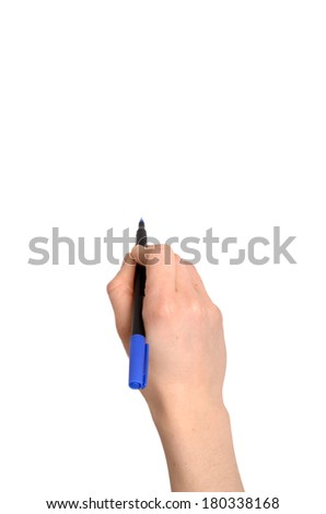 woman's hand holding a marker  - stock photo