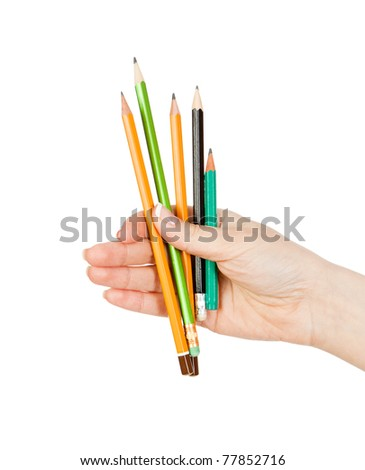 woman's hand holding a more pencisls - stock photo
