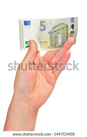woman's hand holding a note of five Euros - stock photo
