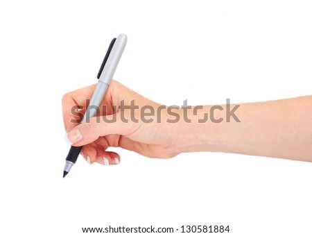 Woman's hand holding a pen on a white white background - stock photo