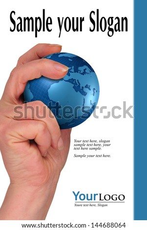 woman's hand holding ball of the world with example texts - stock photo