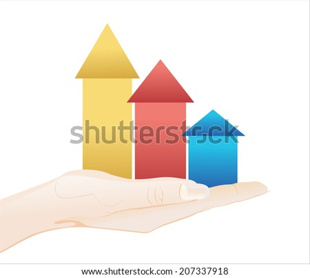 Woman's hand holding object-arrows business background isolated on white background.