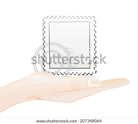 Woman's hand holding object-Blank postage stamps isolated on white background. - stock photo