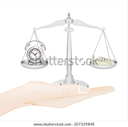 Woman's hand holding object-clock and money on scales isolated on white background. - stock photo