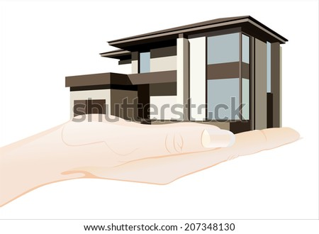 Woman's hand holding object-Cottage isolated on white background.