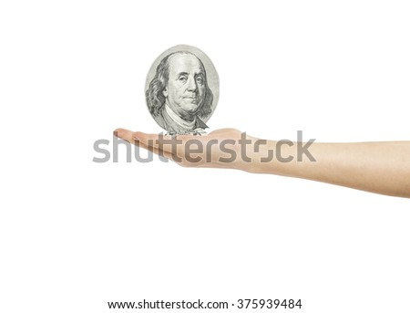 Woman's hand holding object-100 dollar,Franklin, isolated on white background. - stock photo