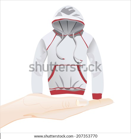 Woman's hand holding object-gray hoody jacket isolated on white background. - stock photo