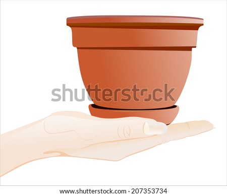 Woman's hand holding object-planting pot isolated on white background. - stock photo