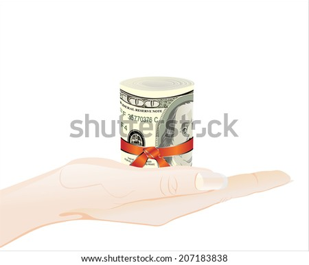 Woman's hand holding object - roll of 100 dollars banknotes - stock photo