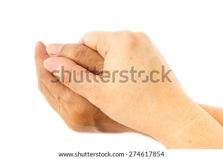 Woman's hand holding on white isolate background. Concept cheer up.