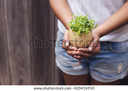 Woman's hand holding radish sprouts on an egg holder