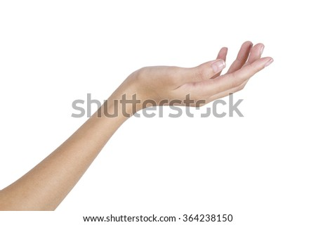 Woman's hand holding something empty,back side,  isolated on white background.