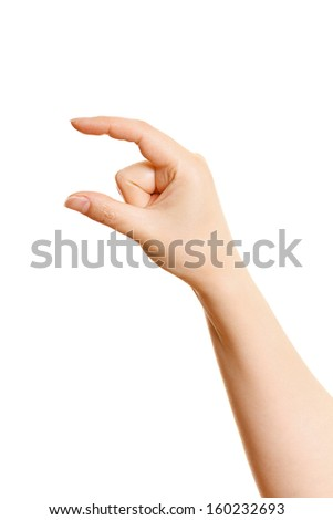 Woman's hand holding something on a white background