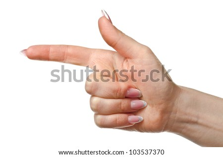 Woman's hand isolated on white background. Studio shot