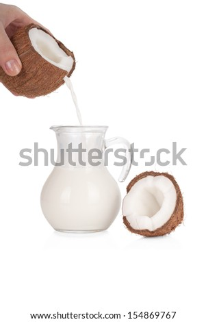 Woman's hand pouring coconut milk into a jar isolated on white background